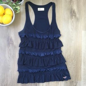 Hollister Navy Blue Ruffled Front Loose Fit Tank